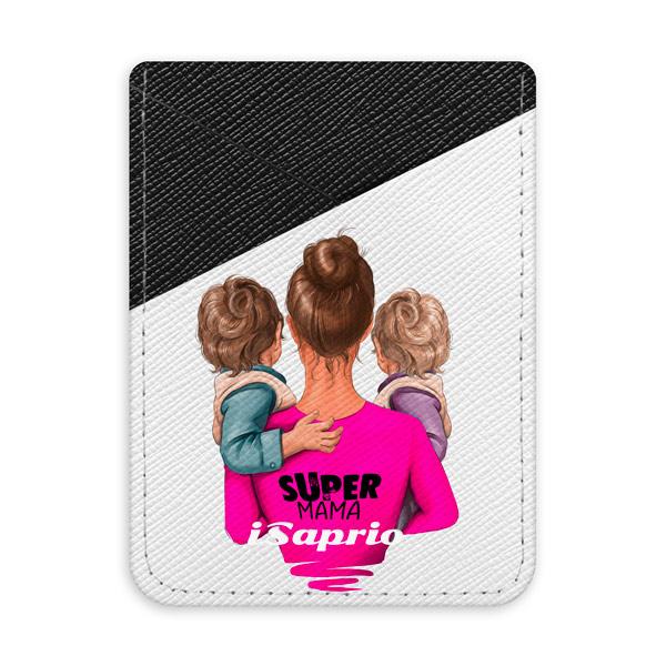 Pouzdro na kreditní karty iSaprio Super Mama Two Boys tmavá nalepovací kapsa