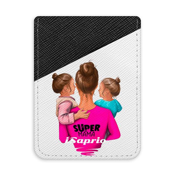 Pouzdro na kreditní karty iSaprio Super Mama Two Girls tmavá nalepovací kapsa