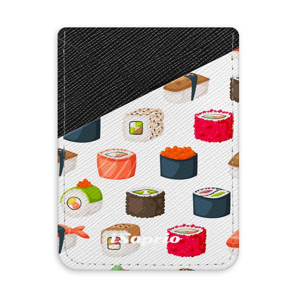 Pouzdro na kreditní karty iSaprio Sushi Pattern tmavá nalepovací kapsa