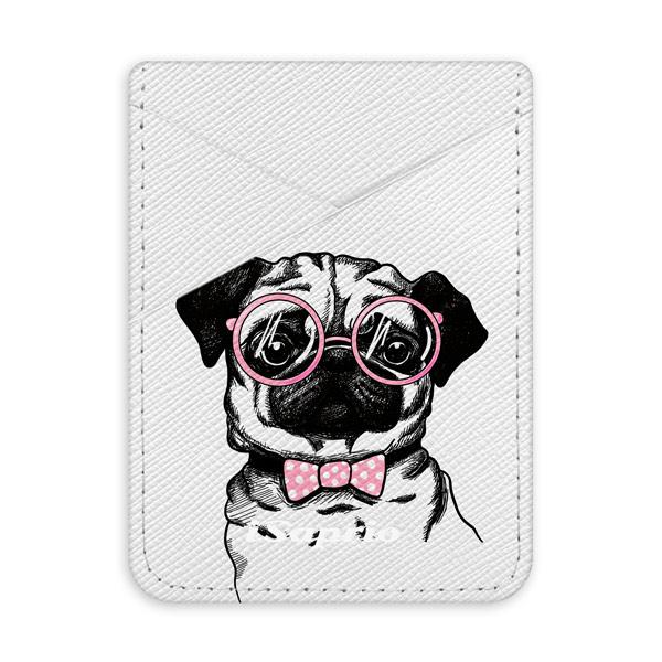 Pouzdro na kreditní karty iSaprio The Pug světlá nalepovací kapsa
