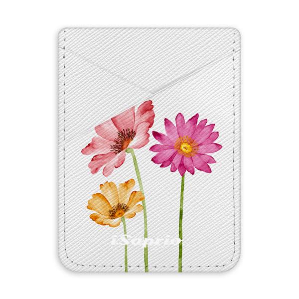 Pouzdro na kreditní karty iSaprio Three Flowers světlá nalepovací kapsa