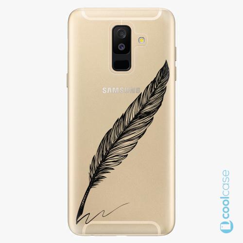 Plastové pouzdro iSaprio Fresh - Writing By Feather black na mobil Samsung Galaxy A6 Plus