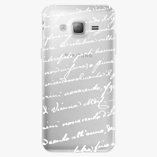 Silikonové pouzdro iSaprio - Handwiting 01 white na mobil Samsung Galaxy J3 2016