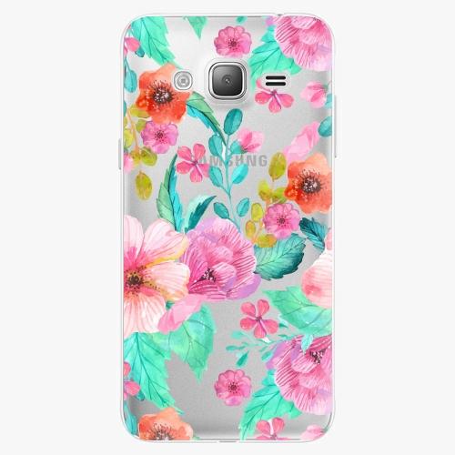 Silikonové pouzdro iSaprio - Flower Pattern 01 na mobil Samsung Galaxy J3 2016