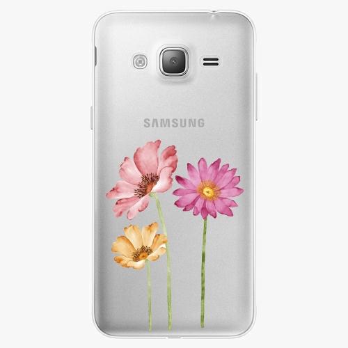 Silikonové pouzdro iSaprio - Three Flowers na mobil Samsung Galaxy J3 2016