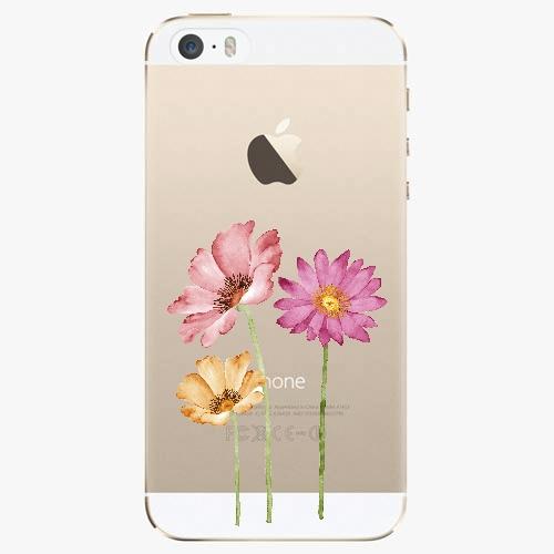 Silikonové pouzdro iSaprio - Three Flowers na mobil Apple iPhone 5/ 5S/ SE