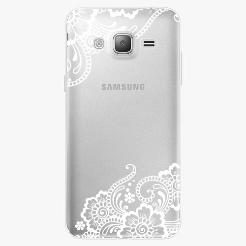 Silikonové pouzdro iSaprio - White Lace 02 na mobil Samsung Galaxy J3 2016