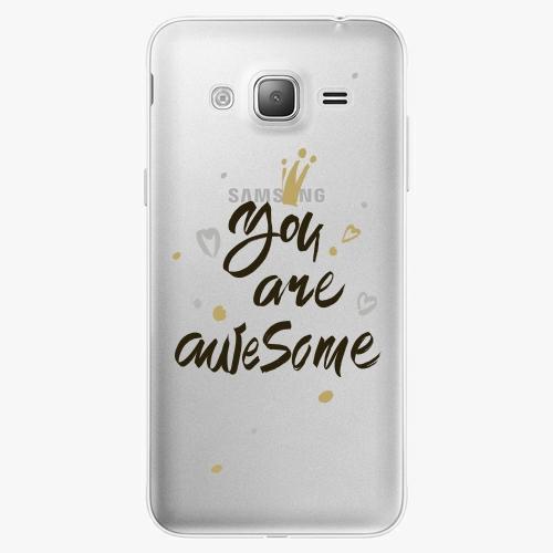 Silikonové pouzdro iSaprio - You Are Awesome black na mobil Samsung Galaxy J3 2016