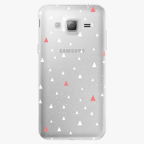 Silikonové pouzdro iSaprio - Abstract Triangles 02 white na mobil Samsung Galaxy J3 2016