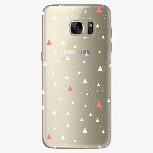 Silikonové pouzdro iSaprio - Abstract Triangles 02 white na mobil Samsung Galaxy S7 Edge