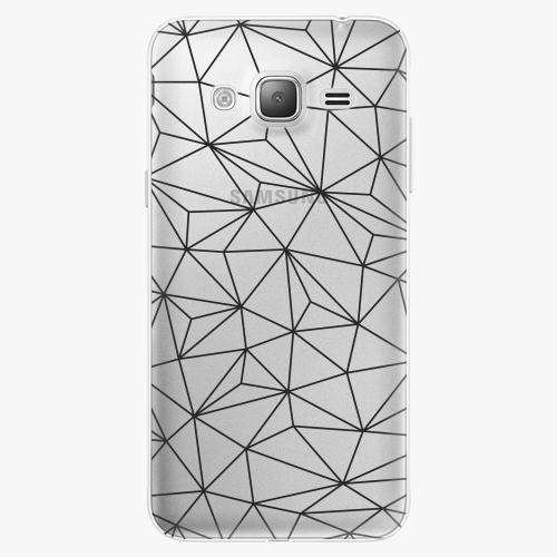 Silikonové pouzdro iSaprio - Abstract Triangles 03 black na mobil Samsung Galaxy J3 2016