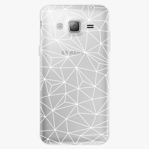 Silikonové pouzdro iSaprio - Abstract Triangles 03 white na mobil Samsung Galaxy J3 2016