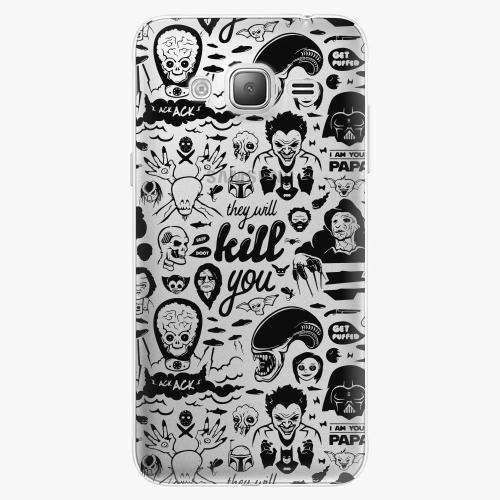Silikonové pouzdro iSaprio - Comics 01 black na mobil Samsung Galaxy J3 2016