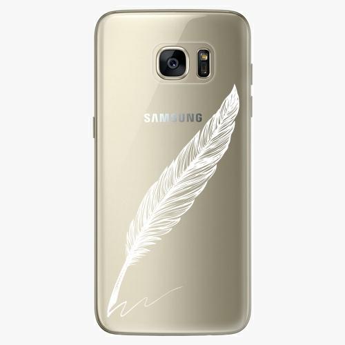 Silikonové pouzdro iSaprio - Writing By Feather white na mobil Samsung Galaxy S7 Edge