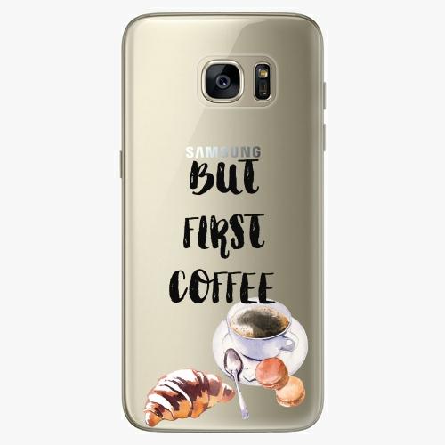 Silikonové pouzdro iSaprio - First Coffee na mobil Samsung Galaxy S7 Edge (Silikonový obal, pouzdro, kryt iSaprio s motivem First Coffee na mobilní telefon Samsung Galaxy S7 Edge)