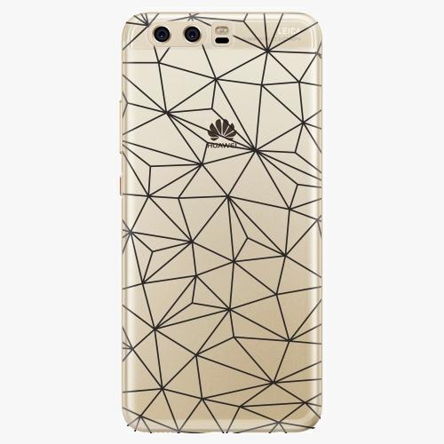 Silikonové pouzdro iSaprio - Abstract Triangles 03 black na mobil Huawei P10