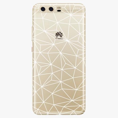 Silikonové pouzdro iSaprio - Abstract Triangles 03 white na mobil Huawei P10
