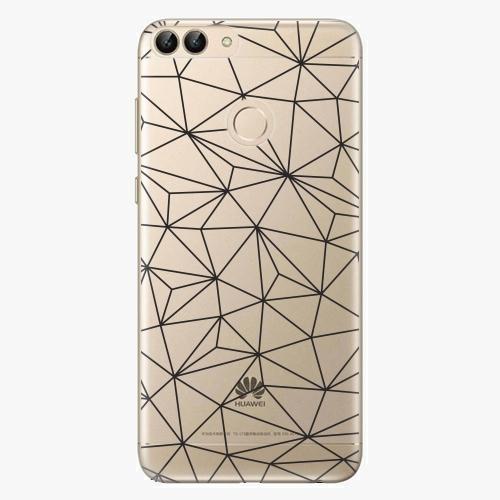 Silikonové pouzdro iSaprio - Abstract Triangles 03 black na mobil Huawei P Smart