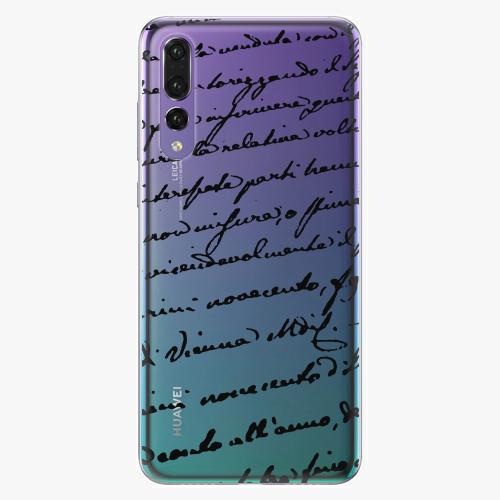 Silikonové pouzdro iSaprio - Handwriting 01 black na mobil Huawei P20 Pro