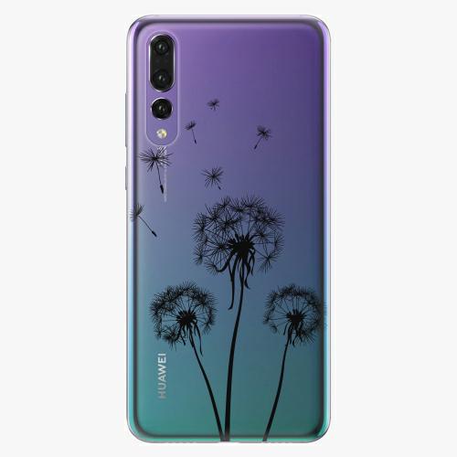 Silikonové pouzdro iSaprio - Three Dandelions black na mobil Huawei P20 Pro