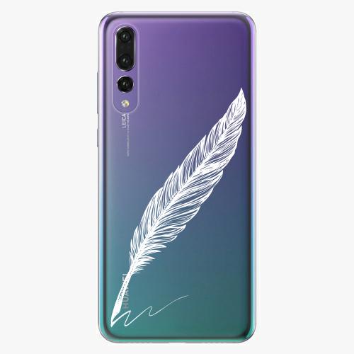 Silikonové pouzdro iSaprio - Writing By Feather white na mobil Huawei P20 Pro