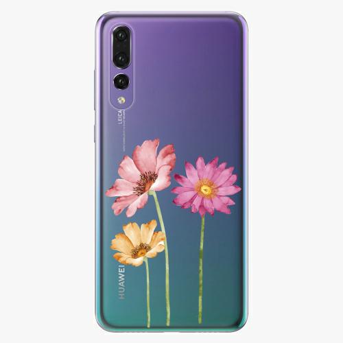 Silikonové pouzdro iSaprio - Three Flowers na mobil Huawei P20 Pro