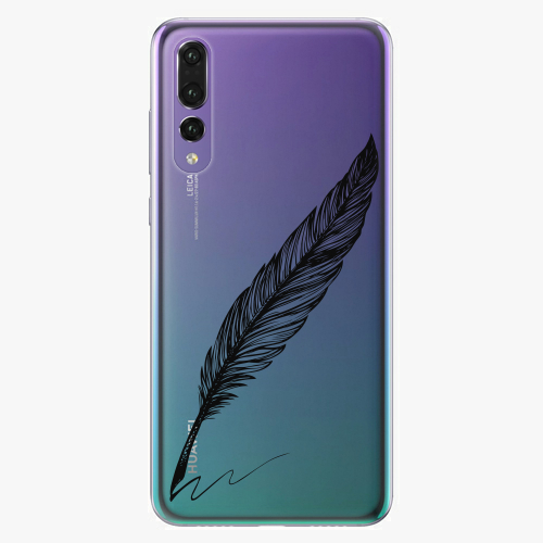 Silikonové pouzdro iSaprio - Writing By Feather black na mobil Huawei P20 Pro