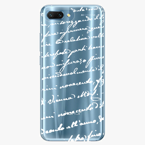 Silikonové pouzdro iSaprio - Handwriting 01 white na mobil Honor 10