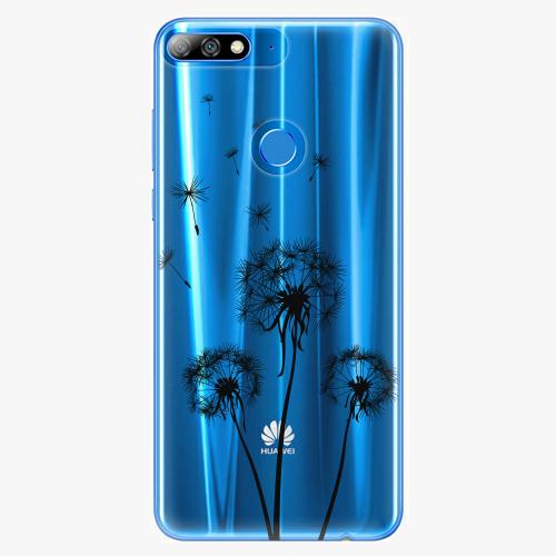 Silikonové pouzdro iSaprio - Three Dandelions black na mobil Huawei Y7 Prime 2018