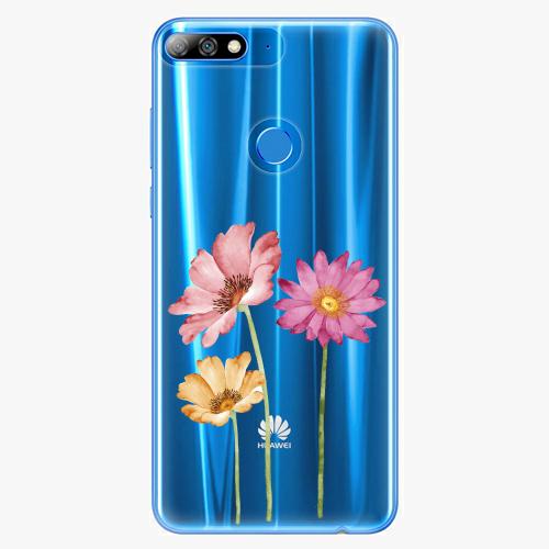 Silikonové pouzdro iSaprio - Three Flowers na mobil Huawei Y7 Prime 2018