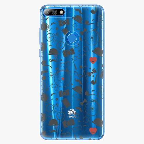Silikonové pouzdro iSaprio - Vintage Pattern 01 black na mobil Huawei Y7 Prime 2018