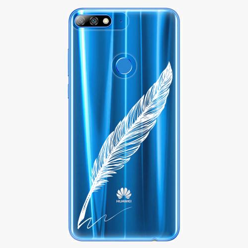 Silikonové pouzdro iSaprio - Writing By Feather white na mobil Huawei Y7 Prime 2018