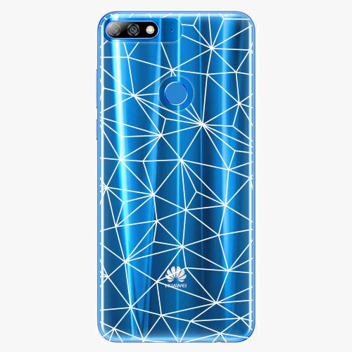 Silikonové pouzdro iSaprio - Abstract Triangles 03 white na mobil Huawei Y7 Prime 2018