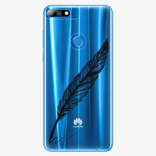 Silikonové pouzdro iSaprio - Writing By Feather black na mobil Huawei Y7 Prime 2018
