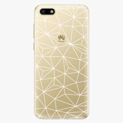 Silikonové pouzdro iSaprio - Abstract Triangles 03 white na mobil Huawei Y5 2018