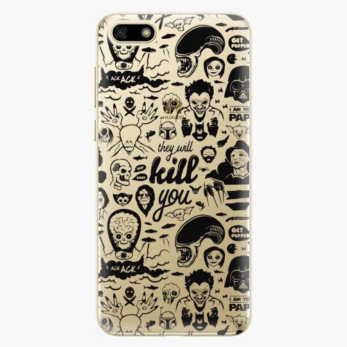 Silikonové pouzdro iSaprio - Comics 01 black na mobil Huawei Y5 2018