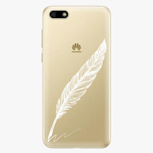 Silikonové pouzdro iSaprio - Writing By Feather white na mobil Huawei Y5 2018