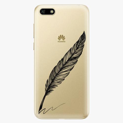 Silikonové pouzdro iSaprio - Writing By Feather black na mobil Huawei Y5 2018