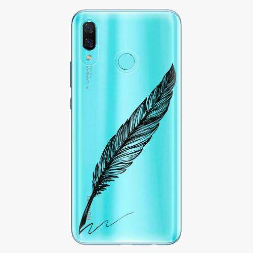 Silikonové pouzdro iSaprio - Writing By Feather black na mobil Huawei Nova 3