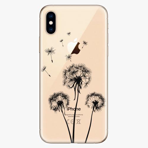 Silikonové pouzdro iSaprio - Three Dandelions black na mobil Apple iPhone XS