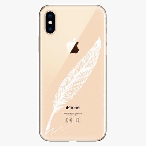 Silikonové pouzdro iSaprio - Writing By Feather white na mobil Apple iPhone XS