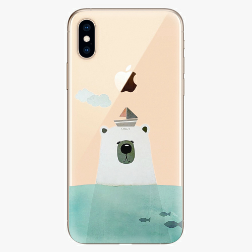 Silikonové pouzdro iSaprio - Bear With Boat na mobil Apple iPhone XS