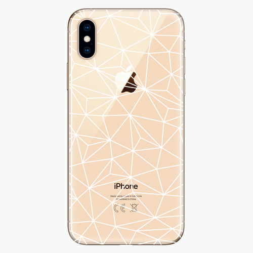 Silikonové pouzdro iSaprio - Abstract Triangles 03 white na mobil Apple iPhone XS