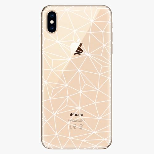Silikonové pouzdro iSaprio - Abstract Triangles 03 white na mobil Apple iPhone XS Max