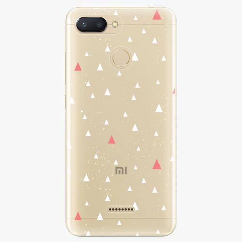 Silikonové pouzdro iSaprio - Abstract Triangles 02 white na mobil Xiaomi Redmi 6