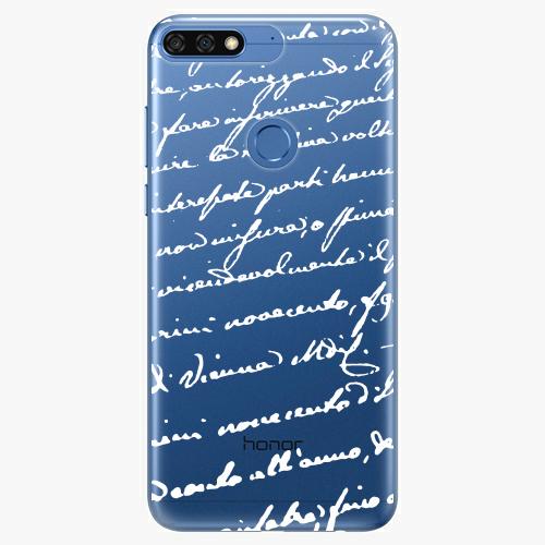 Silikonové pouzdro iSaprio - Handwriting 01 white na mobil Honor 7C