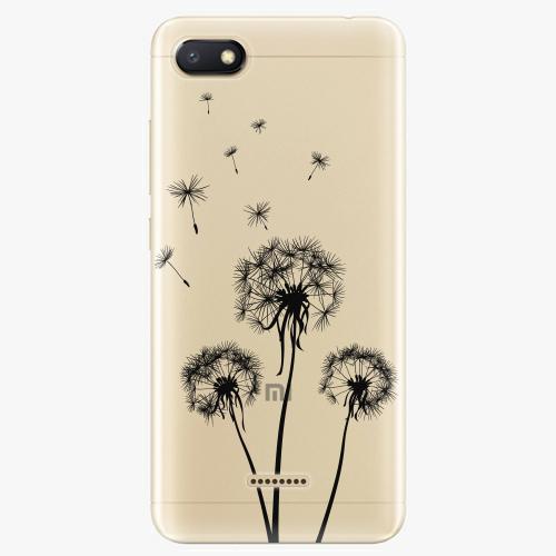 Silikonové pouzdro iSaprio - Three Dandelions black na mobil Xiaomi Redmi 6A