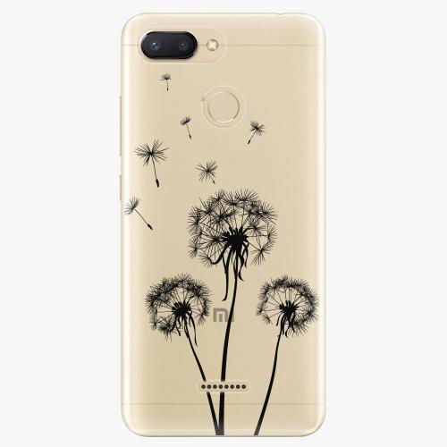 Silikonové pouzdro iSaprio - Three Dandelions black na mobil Xiaomi Redmi 6