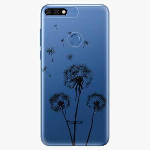 Silikonové pouzdro iSaprio - Three Dandelions black na mobil Honor 7C
