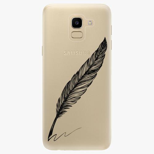 Silikonové pouzdro iSaprio - Writing By Feather black na mobil Samsung Galaxy J6